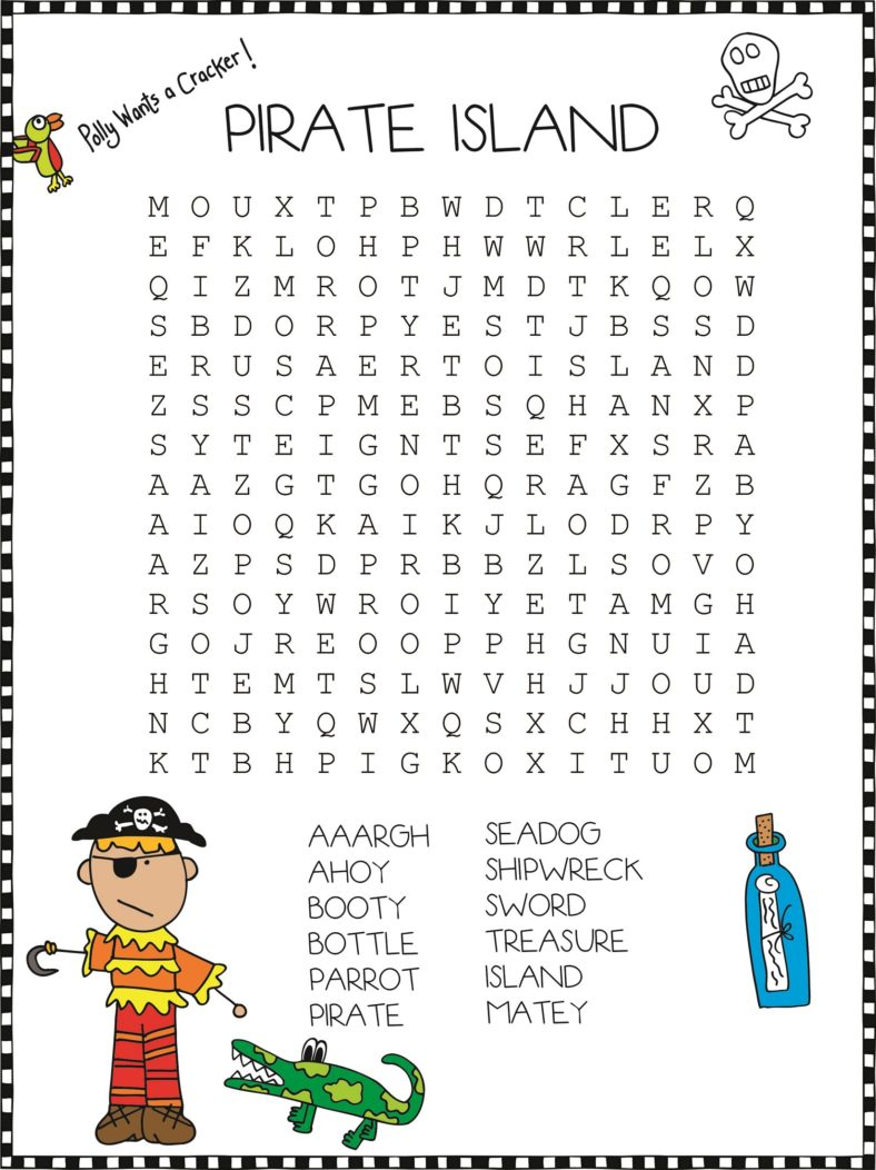 pirate word search easy