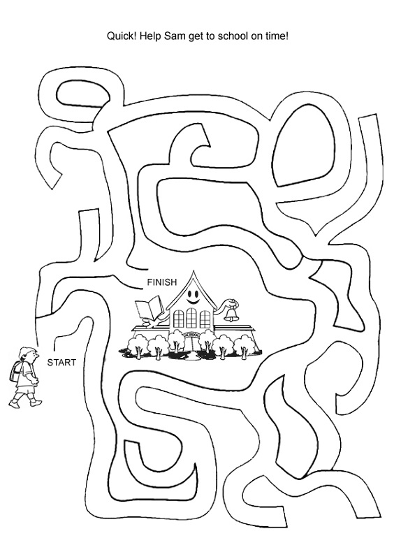 simple mazes for kids school