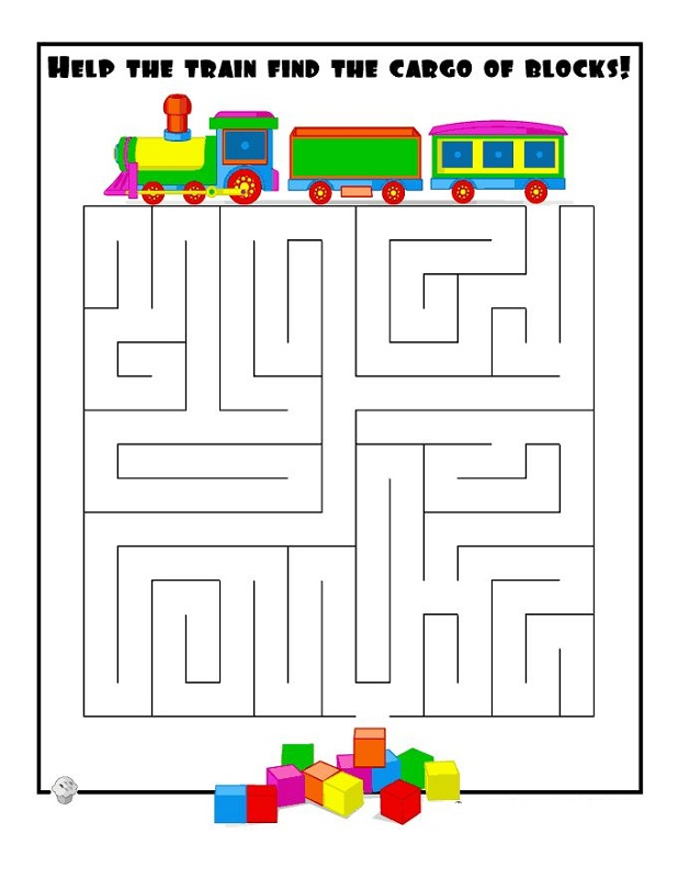 simple mazes for kids train
