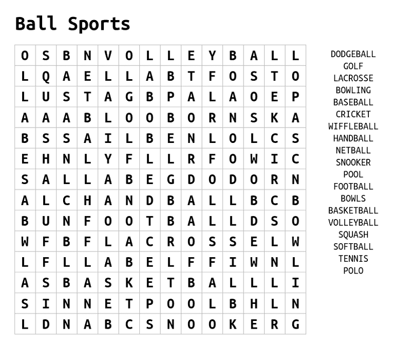 sport word searches ball