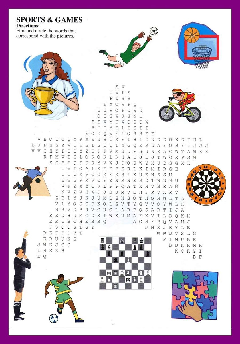 sport word searches for kids