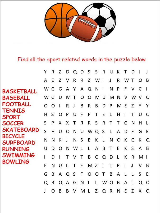 sport word searches free