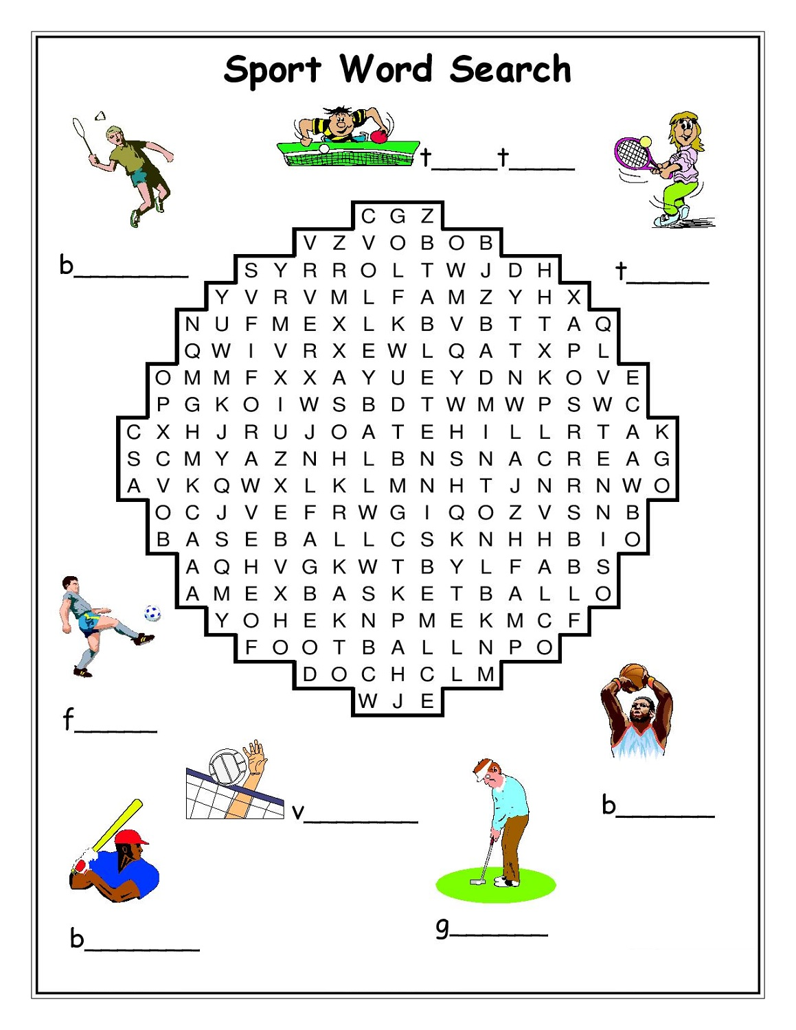 sport word searches printable