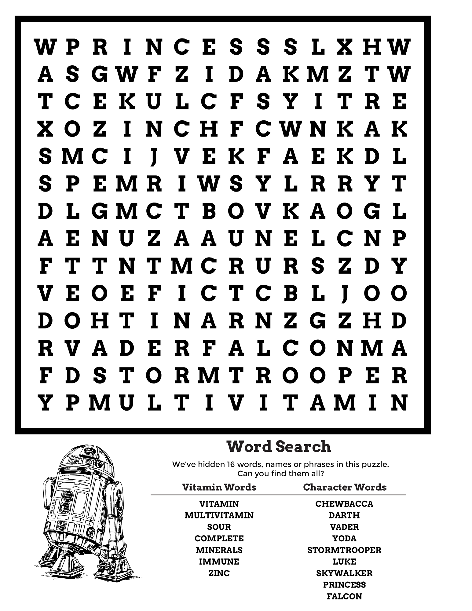 star wars word search free