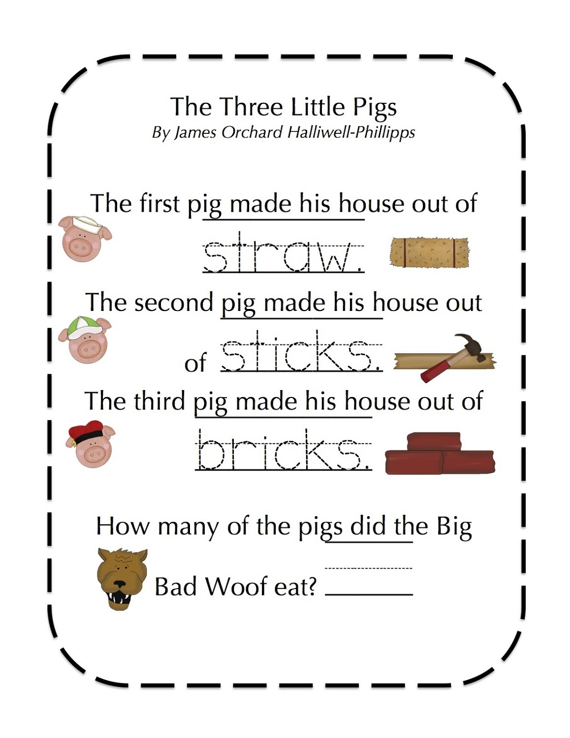 Three little pigs worksheets printable
