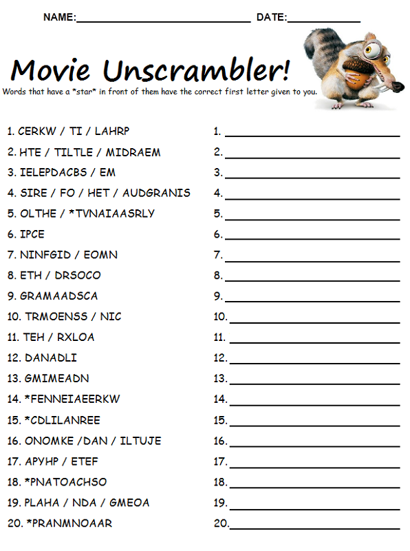 word scramble puzzles movie