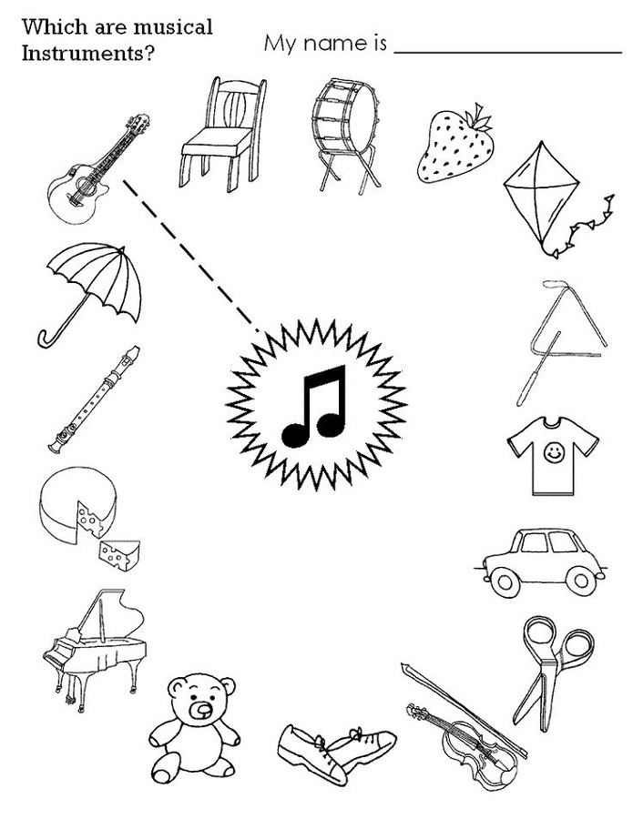 activity sheet for kids music