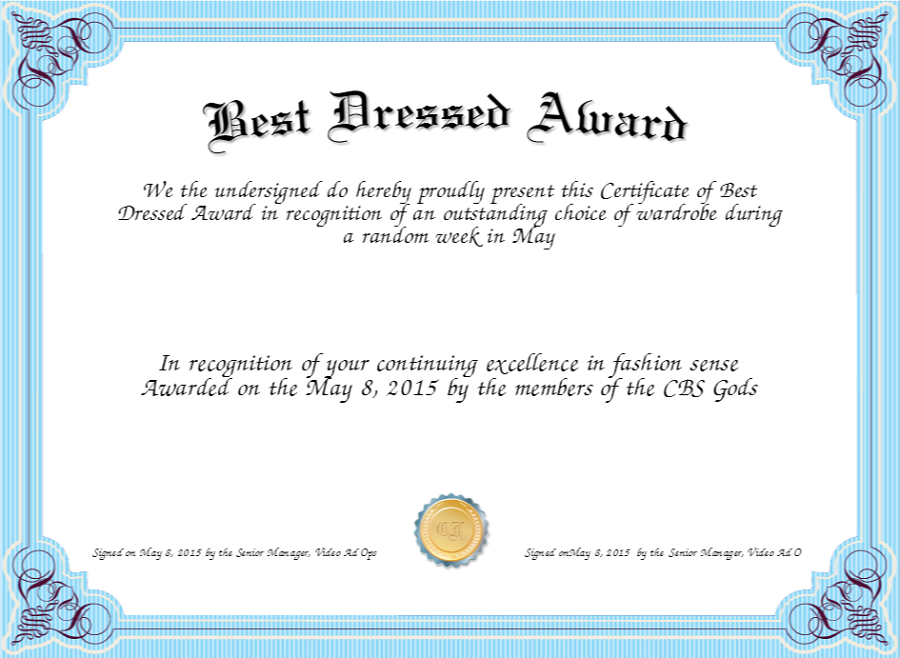 best dressed award certificate blue