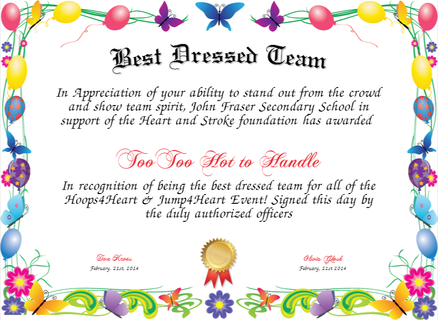 best dressed award certificate colorful