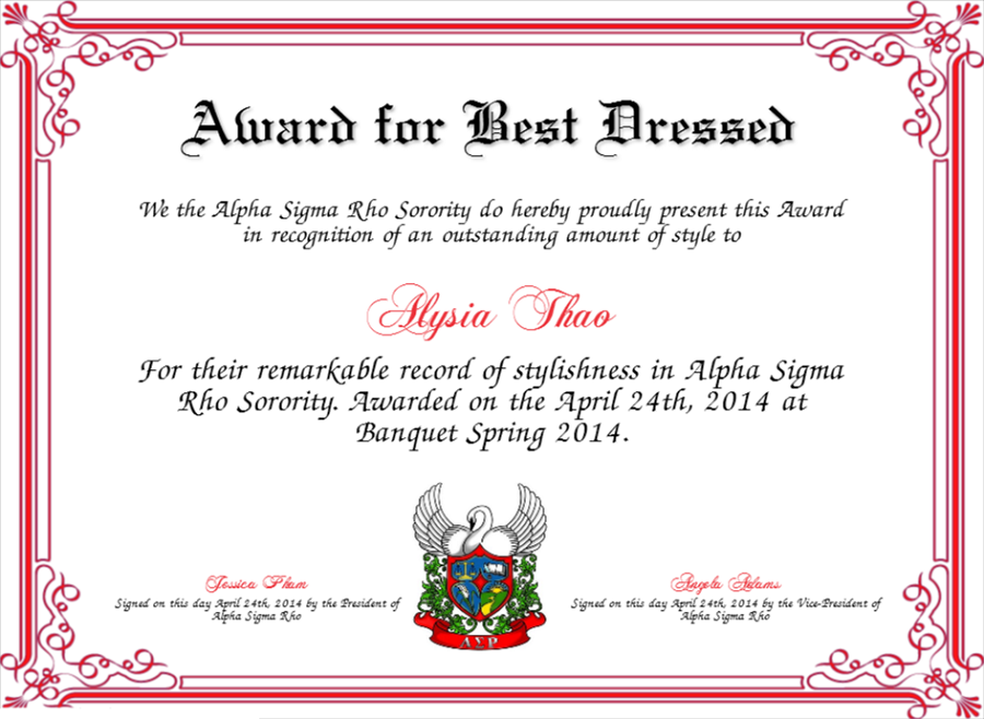best dressed award certificate free