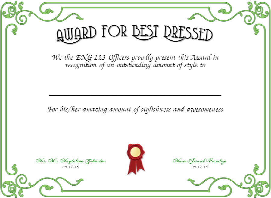 best dressed award certificate green