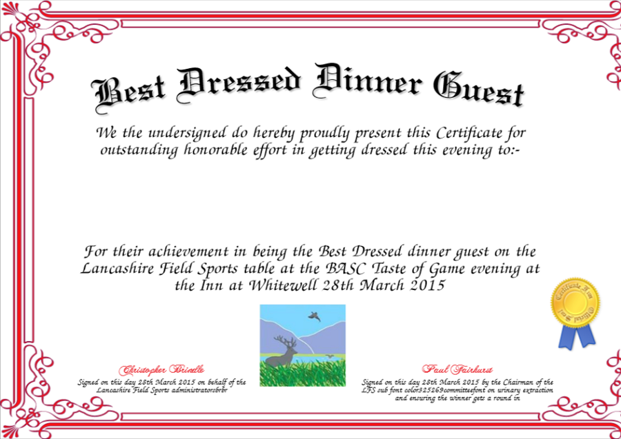Dinner Certificate Template Free