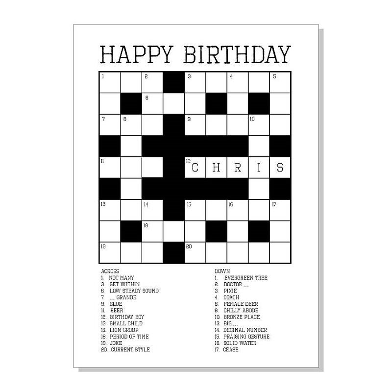 birthday crossword puzzle easy