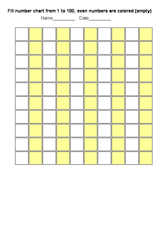 blank number chart 1-100 colored