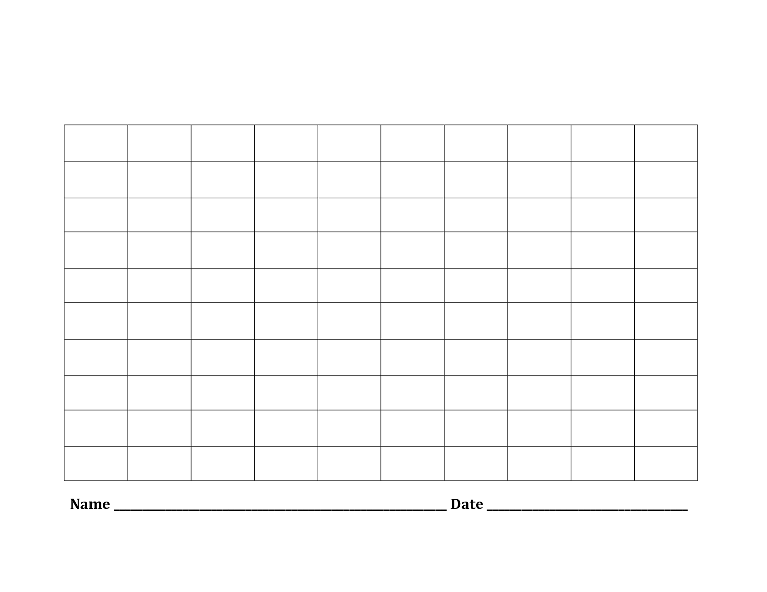 blank number chart 1-100 easy