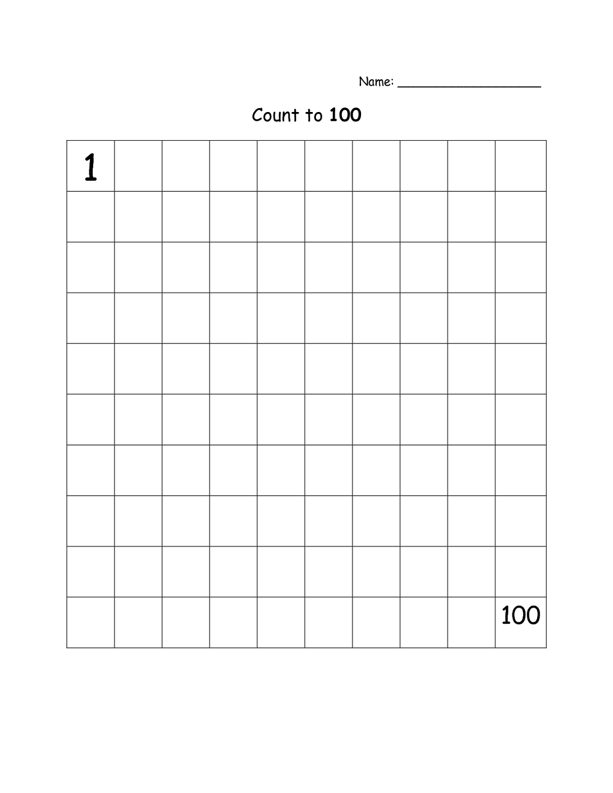 blank chart. Blank Number Chart 1-100 Printable