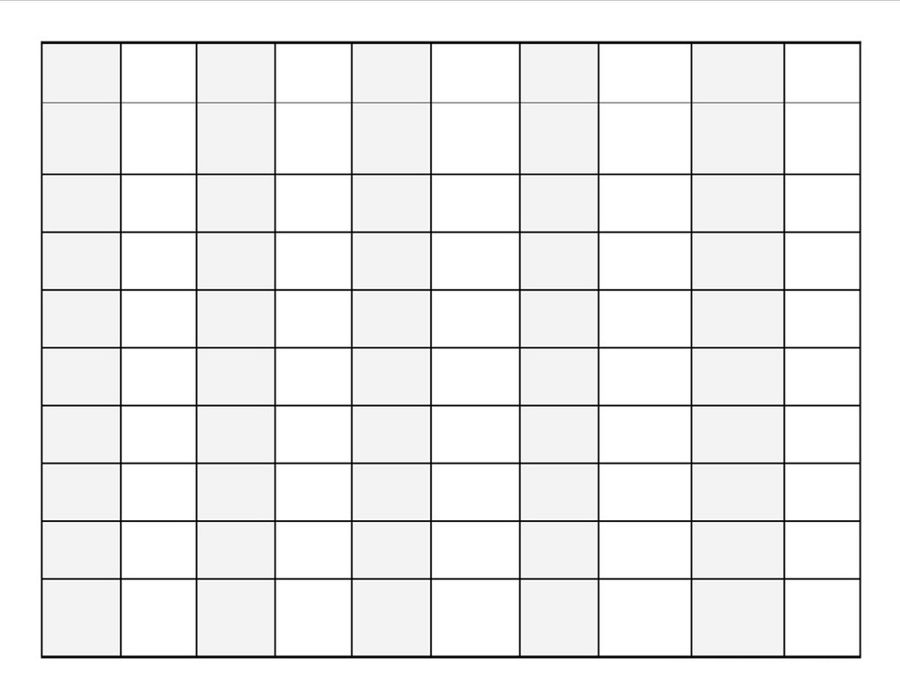 blank number chart 1-100 simple