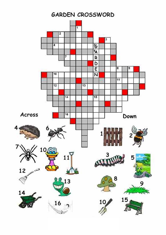 easy crosswords for kids garden