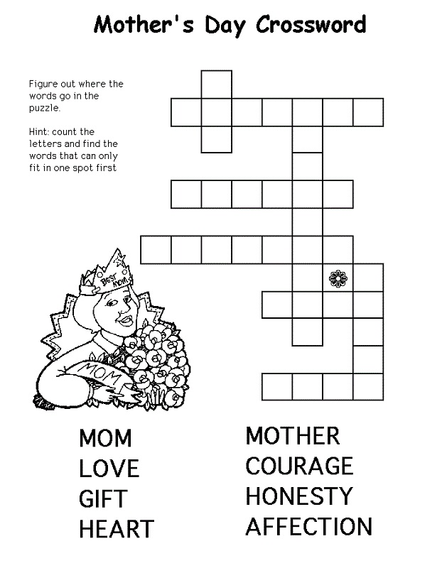 It is a photo of Rare Printable Crosswords for Kids
