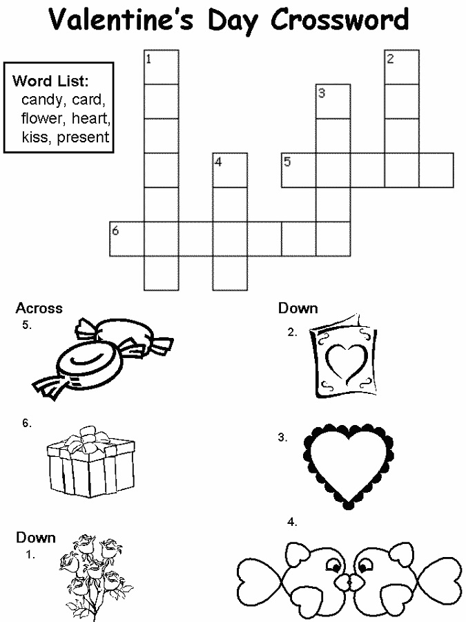 easy crosswords for kids valentine
