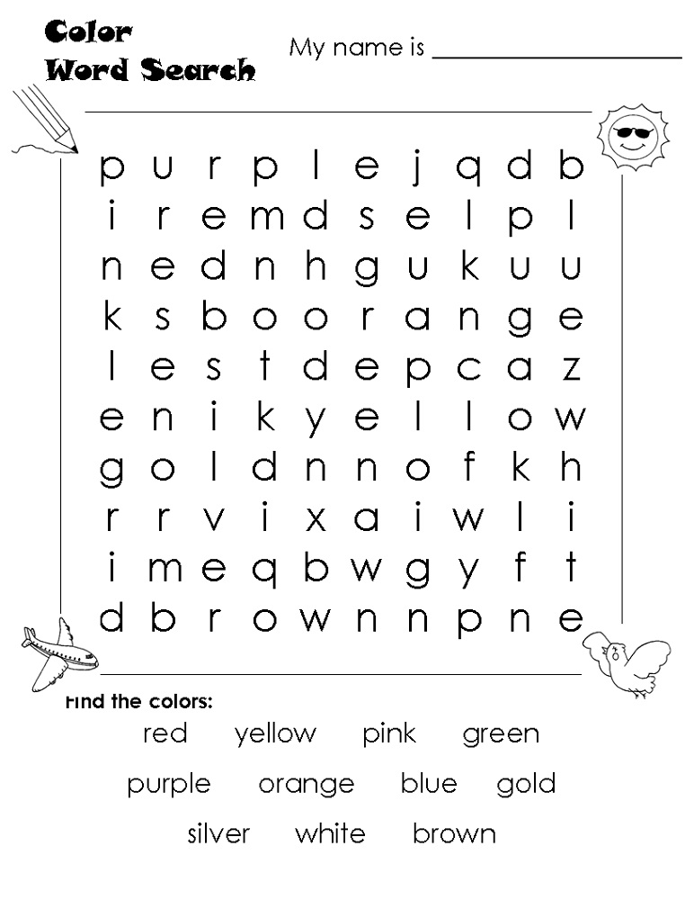 easy word search color