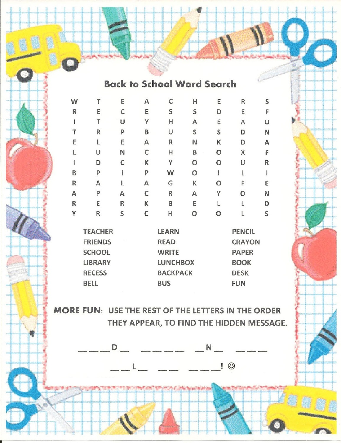 easy word search school
