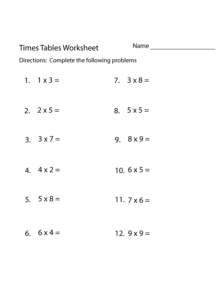 Printable Worksheets times tables worksheets free : Free Times Table Worksheets | Activity Shelter