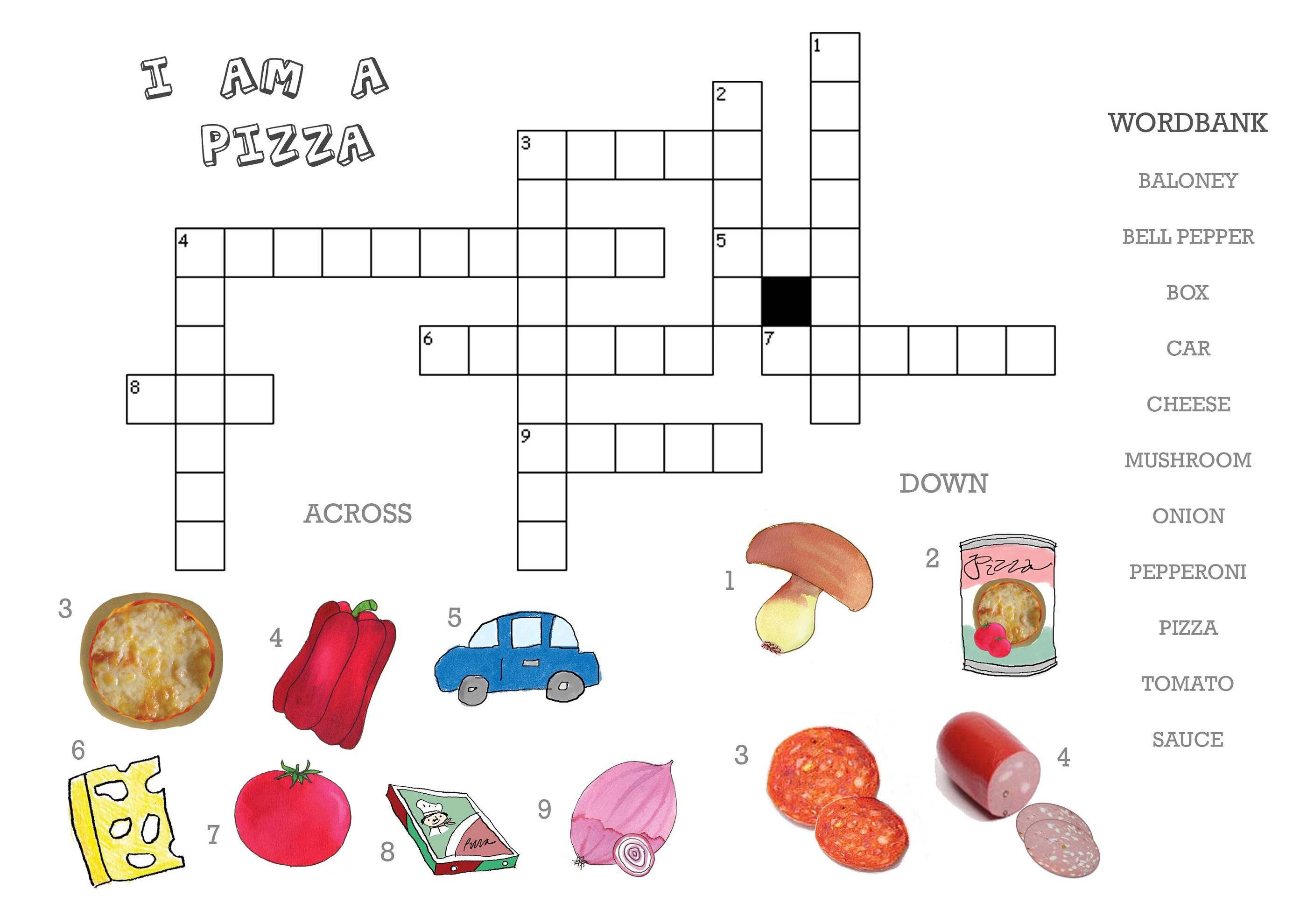 kid crossword puzzles pizza