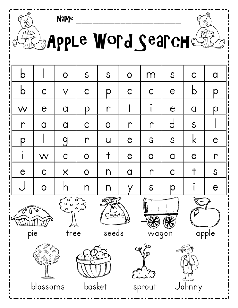 kid word search apple