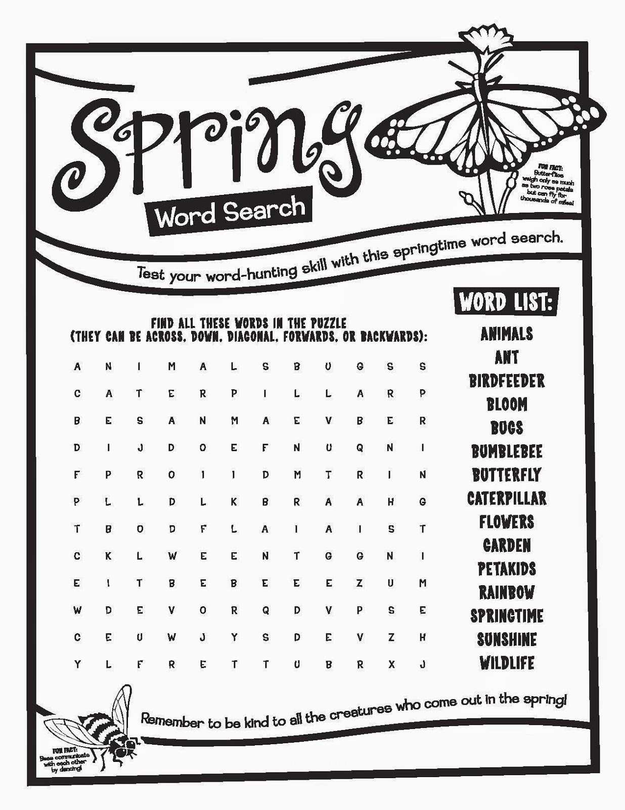 Old Fashioned image inside spring word search printable difficult