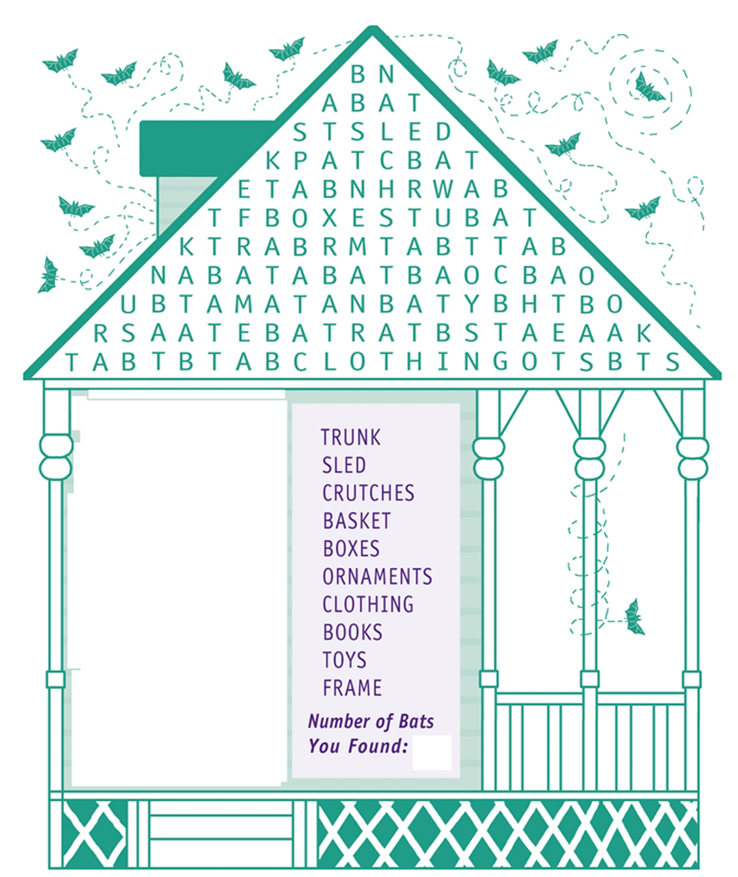 kid word search puzzles house