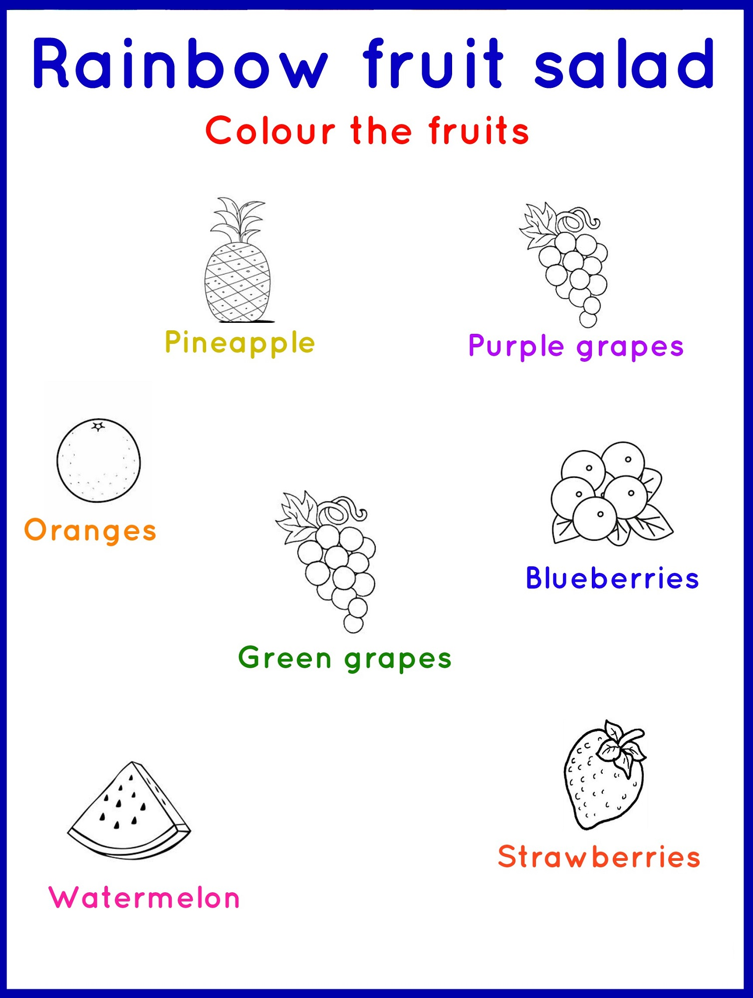 kids fun worksheets fruit