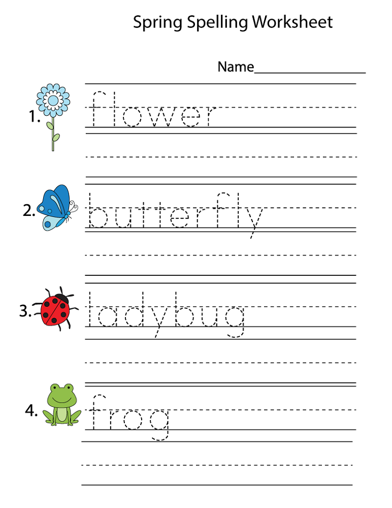 kids work sheets spelling