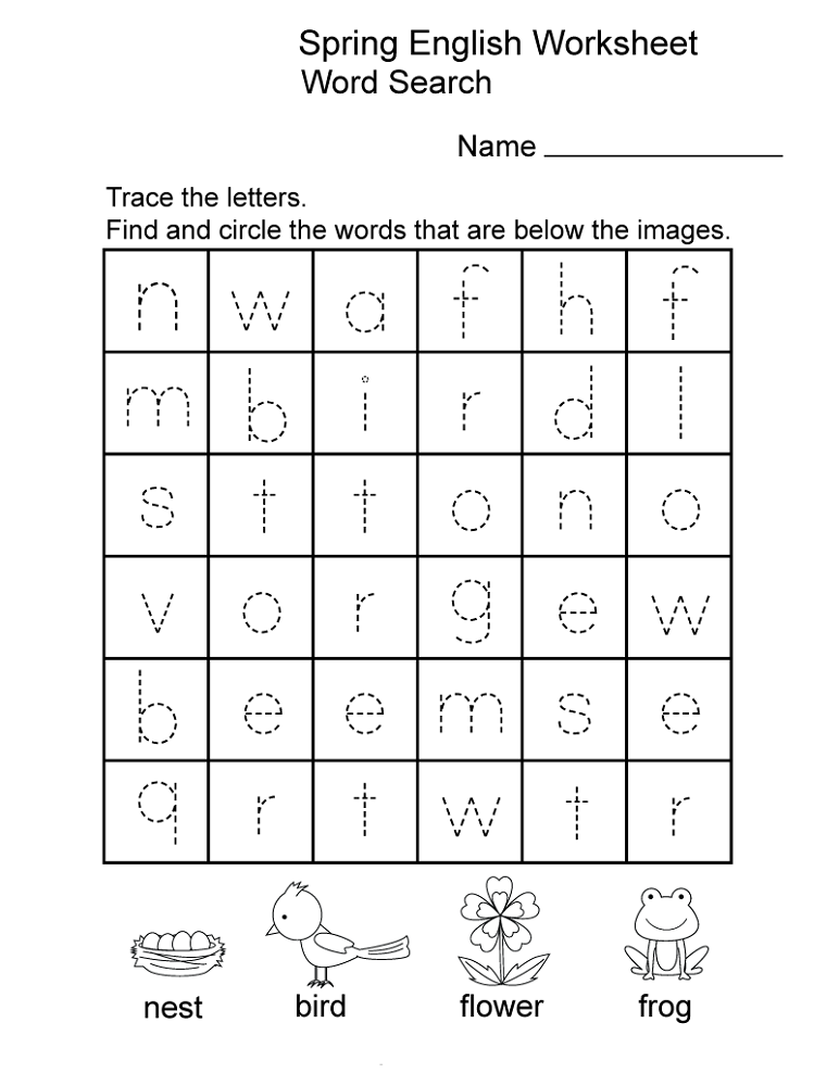 kids work sheets trace