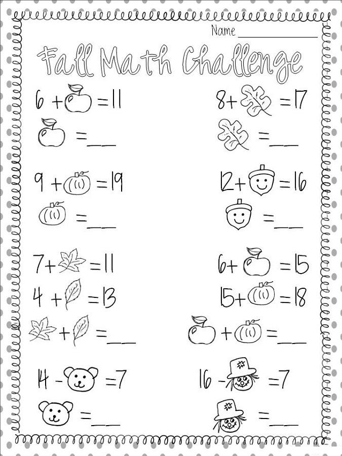 math is fun worksheet fall