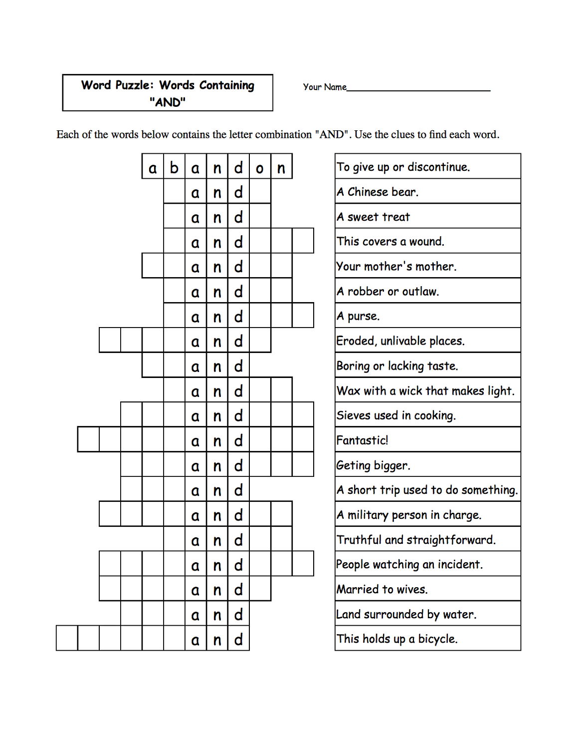 word game worksheets hard