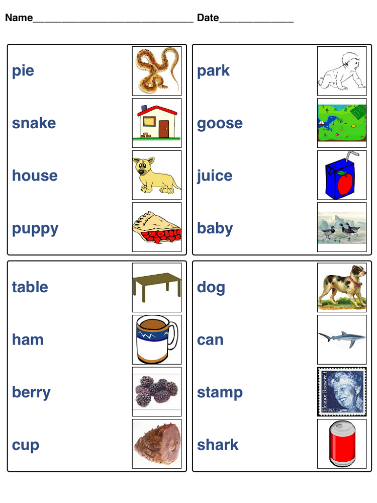 word game worksheets matching