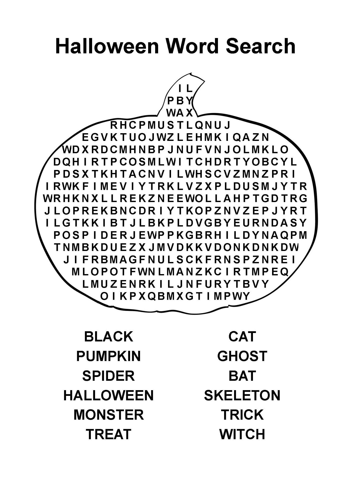 Word search easy halloween