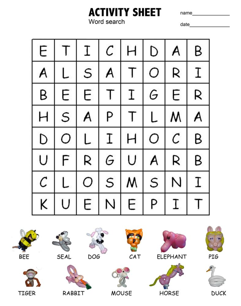 word search for kids animal