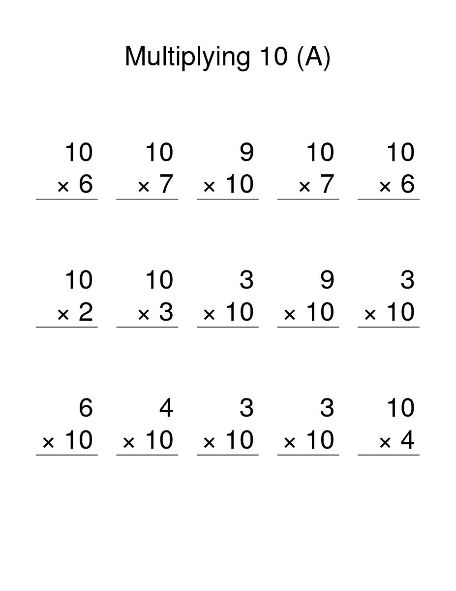 10 times table worksheet children