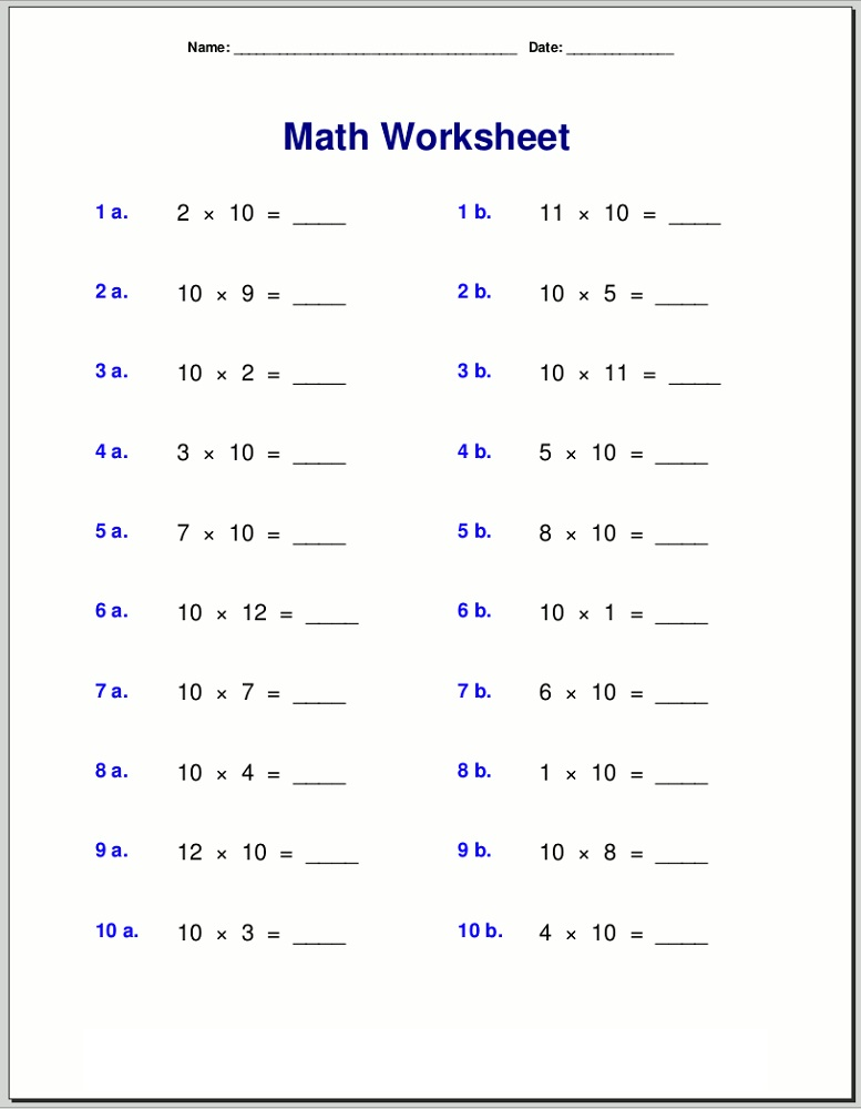 10 times table worksheet for kids