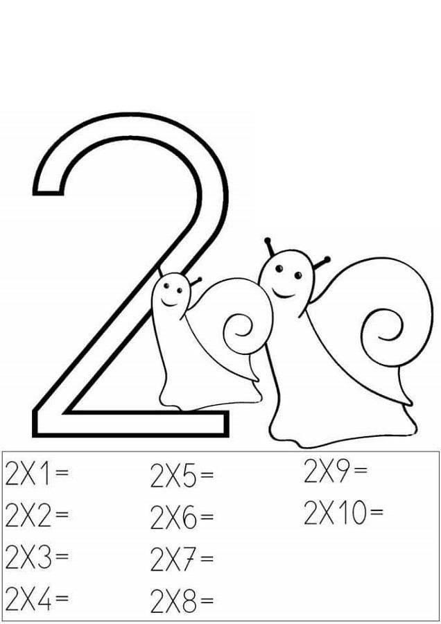 2 times tables worksheets children