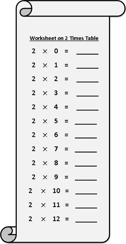 2 times tables worksheets free