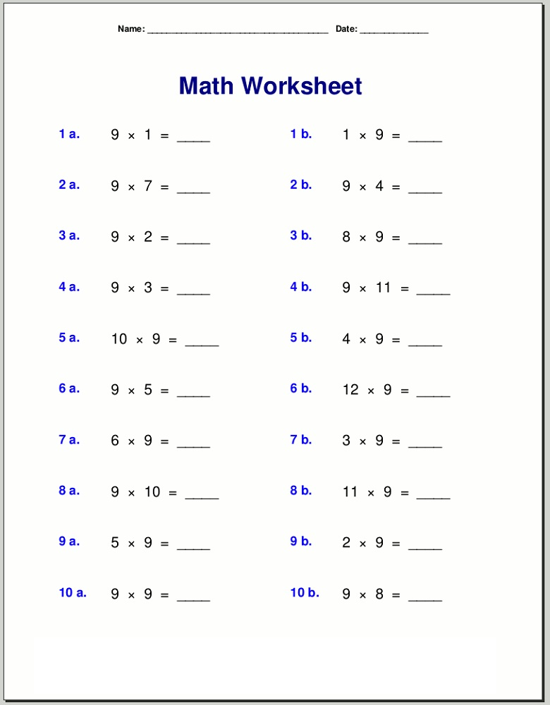 9 times table worksheet to print