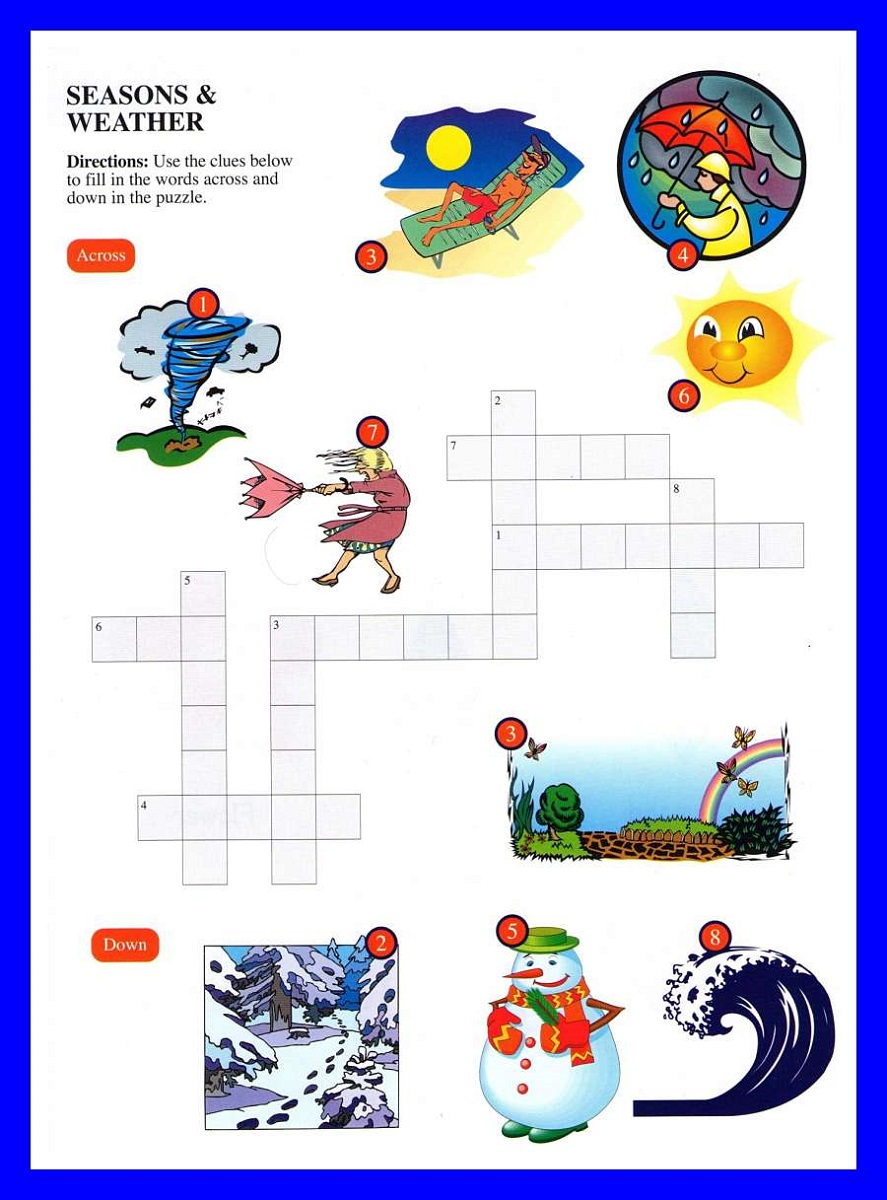 crossword puzzles for kids weather