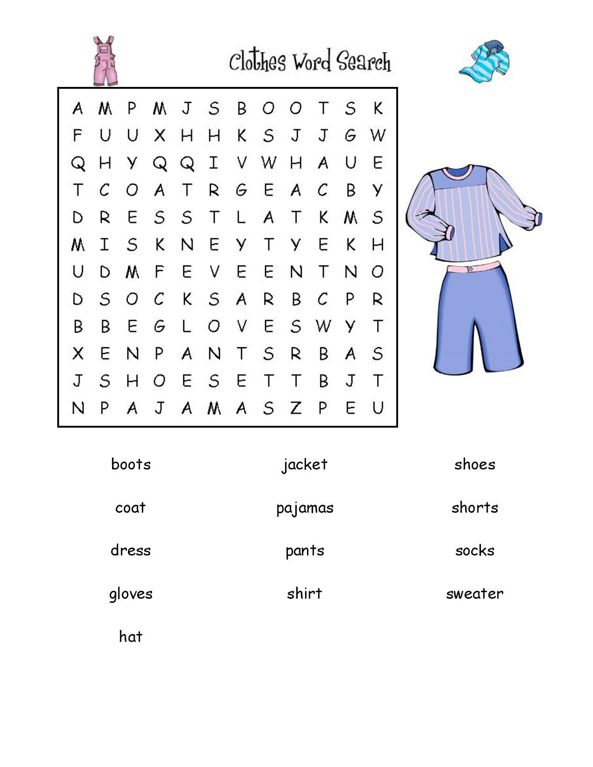 easy word search puzzles clothes