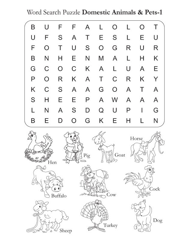 farm animal word search to print