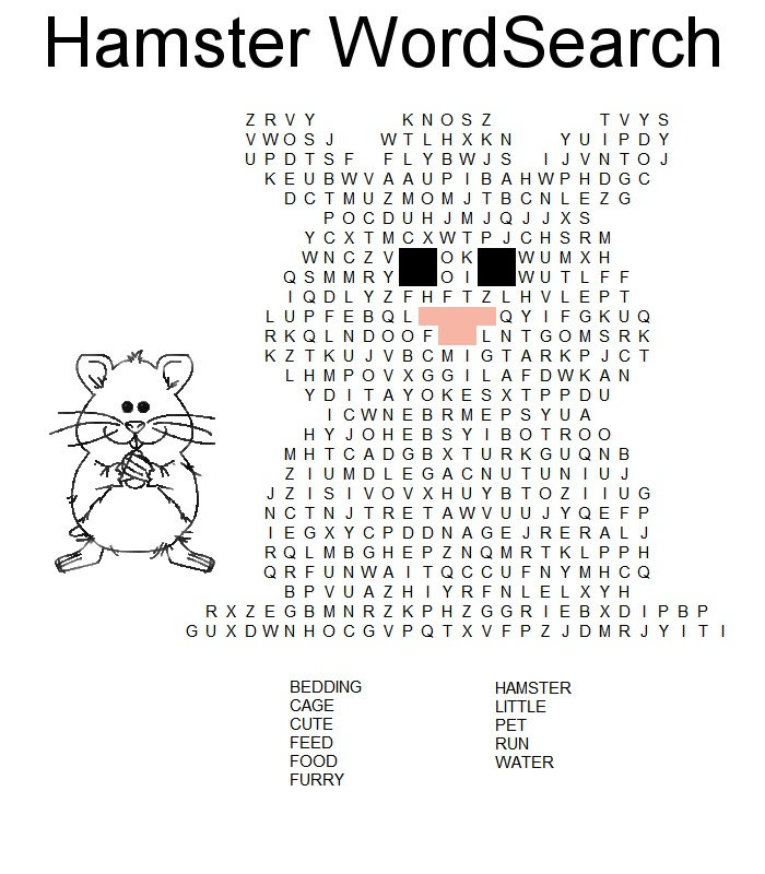 free word search for kids hamster