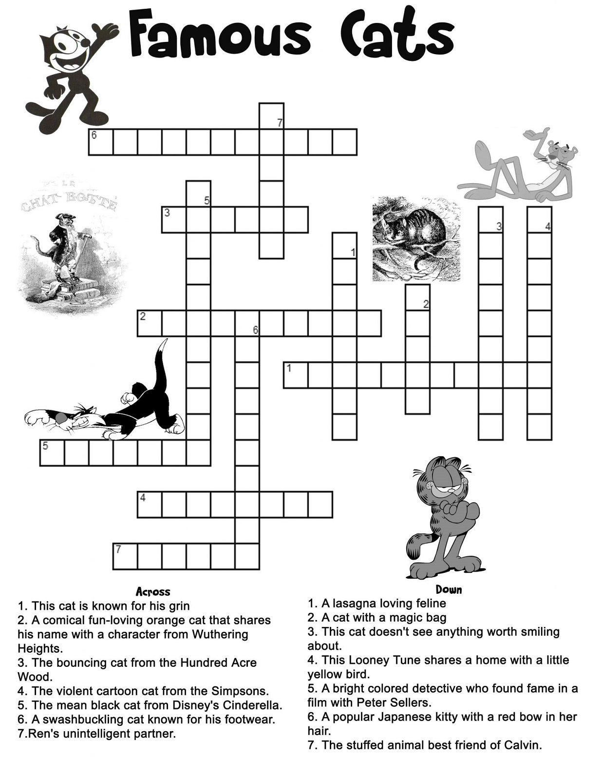 kids crossword puzzles cat