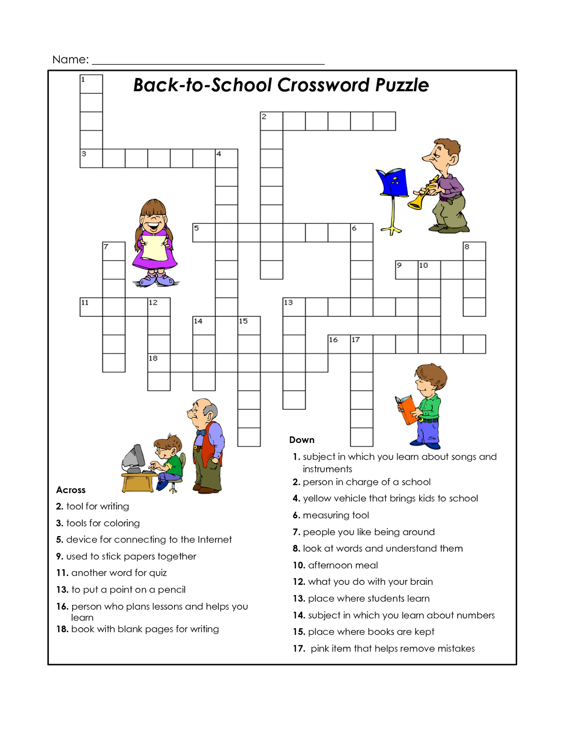 easy crossword puzzles printable worksheets for kids